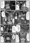 6+girls animal_ears bangs blunt_bangs character_request check_translation closed_eyes closed_mouth comic crossover crowd dragon_tail elbow_gloves eyebrows_visible_through_hair fire gloves godzilla godzilla_(series) greyscale hair_between_eyes hairband head_wings height_difference helmet highres hood hood_up horns kemono_friends kishida_shiki long_sleeves looking_at_another monochrome multiple_girls personification roman_clothes shin_godzilla shirt short_sleeves sitting skirt standing tail translation_request tsuchinoko_(kemono_friends) |_|