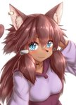 :3 animal_ear_fluff animal_ears blue_eyes blush breasts brown_fur brown_hair brown_tail cat_ears cat_tail choker dress ear_piercing fang fang_out fur furry gundam gundam_build_divers_re:rise hair_ornament hand_behind_head highres horokusa_(korai) jewelry long_hair looking_at_viewer maiya_(gundam_build_divers_re:rise) piercing simple_background small_breasts solo tail white_background