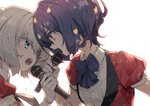 2girls bangs blue_eyes blue_hair blue_neckwear collared_shirt eye_contact eyebrows_visible_through_hair gloves hair_between_eyes holding holding_microphone konno_junko looking_at_another microphone minakata_sunao mizuno_ai multiple_girls music open_mouth red_eyes shiny shiny_hair shirt short_hair short_sleeves silver_hair simple_background singing sweat upper_body white_background white_gloves white_shirt wing_collar zombie_land_saga