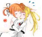 2girls black_ribbon blonde_hair blush closed_eyes couple cyoucyouneko fate_testarossa hair_ornament hair_ribbon hand_around_neck hand_on_another's_back happy hug long_hair lyrical_nanoha mahou_shoujo_lyrical_nanoha mahou_shoujo_lyrical_nanoha_a's multiple_girls neck_ribbon orange_hair pink_ribbon red_ribbon ribbon school_uniform short_hair short_twintails simple_background smile star takamachi_nanoha twintails two-tone_background uniform yuri