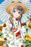 1girl :d bangs blue_eyes blue_sky blurry blurry_foreground blush brown_hair brown_headwear cloud commentary_request day depth_of_field eyebrows_visible_through_hair flower food_print hair_between_eyes hair_flower hair_ornament highres holding holding_umbrella japanese_clothes kimono lemon_print long_hair long_sleeves looking_at_viewer low_twintails obi open_mouth oriental_umbrella original outdoors print_kimono revision ryoutan sash sky smile snowflake_hair_ornament solo sunflower transparent transparent_umbrella twintails umbrella upper_body white_kimono wide_sleeves wind_chime yellow_flower