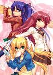 3girls angel_beats! blazer blonde_hair blue_eyes company_connection cosplay food futaki_kanata gun hair_bobbles hair_ornament hand_sonic jacket kanon key_(company) little_busters! long_hair mouth_hold multiple_girls nikuman ootori_chihaya ootori_chihaya_(cosplay) plaid plaid_skirt plank purple_hair rewrite ribbon sasasegawa_sasami sawatari_makoto sawatari_makoto_(cosplay) school_uniform skirt tenshi_(angel_beats!) tenshi_(angel_beats!)_(cosplay) thighhighs tokido_saya twintails two_side_up weapon yellow_eyes zen