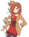1girl blue_eyes blush_stickers brown_hair drop_shadow fang hairband hands_on_hips hat heart highres katrielle_layton layton_mystery_journey long_hair mini_hat mini_top_hat pantyhose professor_layton smile solo top_hat