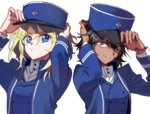 2girls adjusting_clothes adjusting_hat andou_(girls_und_panzer) bangs bc_freedom_(emblem) bc_freedom_military_uniform black_hair blonde_hair blue_eyes blue_hat blue_jacket blue_vest brown_eyes closed_mouth commentary dark_skin dress_shirt emblem eyebrows_visible_through_hair frown girls_und_panzer hat high_collar jacket long_sleeves looking_at_viewer medium_hair military military_hat military_uniform multiple_girls oshida_(girls_und_panzer) portrait shako_cap shirt shutou_mq simple_background smile standing uniform vest white_background white_shirt