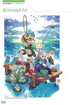 2boys anger_vein artist_request blue_eyes blue_hair breath_of_fire capcom character_request concept_art fishing fishing_rod highres lobster multiple_boys official_art purple_hair red_eyes scan