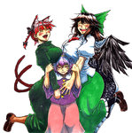3girls ^_^ animal_ears bangs bird_wings black_wings blouse blush bow braid breast_rest breasts breasts_on_head brown_hair cape cat_ears cat_tail closed_eyes commentary_request cowboy_shot dress extra_ears eyebrows_visible_through_hair fangs girl_sandwich green_bow green_dress green_skirt hair_between_eyes hair_bow hairband half-closed_eyes hand_on_another's_arm hands_up happy heart height_difference huge_breasts kaenbyou_rin komeiji_satori koyubi_(littlefinger1988) large_breasts long_dress long_hair long_skirt long_sleeves multiple_girls multiple_tails nekomata open_mouth parted_lips pink_skirt puffy_short_sleeves puffy_sleeves purple_blouse purple_eyes purple_hair red_eyes red_hair reiuji_utsuho sandwiched shirt short_hair short_sleeves simple_background skirt smile standing starry_sky_print tail third_eye touhou twin_braids white_background white_cape white_shirt wide_sleeves wings