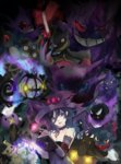 1girl armband banette bare_shoulders book breasts chandelure choker cleavage closed_mouth cosplay crossover dark drifloon duskull elbow_gloves emblem english eyebrows_visible_through_hair fire flame gastly gen_1_pokemon gen_2_pokemon gen_3_pokemon gen_4_pokemon gen_5_pokemon gen_6_pokemon gen_7_pokemon gengar ghost gloves glowing glowing_eye grimoire hat haunter heart highres holding holding_book honedge lace lace-trimmed_gloves litwick looking_at_viewer medium_breasts mimikyu misdreavus mismagius mismagius_(cosplay) oka_ruto_(yandere_simulator) open_book pentagram pokemon pokemon_(creature) pumpkaboo purple_eyes purple_gloves purple_hair purple_hat red_lips sableye shuppet smile upper_body valeera witch_hat yamask yandere_simulator