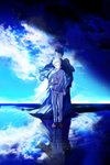 2boys back-to-back blue_eyes blue_sky cloak closed_mouth cloud commentary day highres holding horizon long_sleeves looking_down multiple_boys norman_(yakusoku_no_neverland) pants reflection reflective_water ripples sad_smile shadow shirt shoes sky smile string_phone walking walking_on_liquid water water_surface white_hair white_shirt yakusoku_no_neverland yala1453