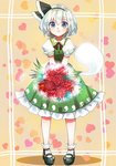 1girl :< aqua_eyes bangs black_footwear black_hairband blush bouquet closed_mouth commentary_request dress eyebrows_visible_through_hair flower frilled_sleeves frills full_body green_dress hairband heart heart_background holding holding_bouquet konpaku_youmu konpaku_youmu_(ghost) looking_at_viewer mary_janes nagare pinafore_dress puffy_short_sleeves puffy_sleeves red_flower shoes short_hair short_sleeves silver_hair socks solo standing tareme touhou white_legwear