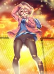 1girl ;o ahoge arm_up ass_visible_through_thighs backlighting bag blonde_hair bloom blue_ribbon blue_shirt blue_skirt blush chain-link_fence cloud duffel_bag fence from_below glasses glint hand_on_head highres jacket kashi_kosugi kuriyama_mirai kyoukai_no_kanata long_sleeves one_eye_closed open_clothes open_jacket open_mouth orange_sky outdoors over_shoulder panties panties_under_pantyhose pantyhose pantyshot pantyshot_(standing) petals pink_jacket pleated_skirt red-framed_eyewear ribbon school_bag shiny shiny_skin shirt short_hair skirt sky solo standing sun sunlight tareme thighs underwear yellow_eyes