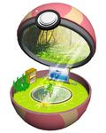 cabinet fairy flower forest gen_1_pokemon heal_ball leaf minimized nature no_humans open_poke_ball pikachu plant pokemon pokemon_(creature) ruun_(abcdeffff) television tree water
