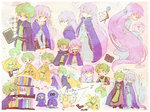 1girl 2boys ^_^ ^o^ absurdly_long_hair angry belt blue_eyes book bookshelf boots braid chibi cloak closed_eyes dragon fa fire_emblem fire_emblem:_fuuin_no_tsurugi frown green_hair hands_together kappaman laughing lavender_eyes lavender_hair lleu_(fire_emblem) long_hair looking_at_another lugh_(fire_emblem) mouth_pull multiple_boys musical_note open_mouth robe romaji short_hair snow sofiya spiked_hair staff surprised tabard trembling very_long_hair