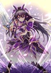 1girl absurdres armor armored_dress black_legwear commentary_request date_a_live detached_collar gauntlets hair_between_eyes hair_ribbon highres holding holding_sword holding_weapon long_hair looking_at_viewer miying_(13975192760) pauldrons purple_eyes purple_hair ribbon ribbon-trimmed_dress serious solo standing sword thighhighs very_long_hair weapon yatogami_tooka