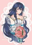 1girl artist_request bare_shoulders blue_eyes blue_hair blush bridal_veil bride dress elbow_gloves fire_emblem fire_emblem:_kakusei fire_emblem_heroes flower formal gloves jewelry long_hair looking_at_viewer lucina simple_background smile solo strapless strapless_dress tiara veil wedding_dress white_background white_dress white_gloves