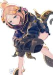 1girl abigail_williams_(fate/grand_order) absurdres alternate_hairstyle bandaid_on_forehead bangs belt black_bow black_jacket blonde_hair blue_eyes blush bow fate/grand_order fate_(series) forehead hair_bow hair_bun heroic_spirit_traveling_outfit high_collar highres jacket legs long_hair looking_at_viewer orange_bow parted_bangs polka_dot polka_dot_bow simple_background sitting sleeves_past_fingers sleeves_past_wrists solo tentacles thighs white_background yonago_miko