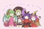 4girls animal_ears antlers arm_up bat_ears bell belt cape chiki circlet closed_eyes dragon_wings dress fa facial_mark fire_emblem fire_emblem:_fuuin_no_tsurugi fire_emblem:_kakusei fire_emblem:_monshou_no_nazo fire_emblem:_seima_no_kouseki fire_emblem_heroes forehead_mark fur_trim gloves green_eyes green_hair halloween_costume hat long_hair long_sleeves mamkute midriff multi-tied_hair multiple_girls murabito_ba myrrh nono_(fire_emblem) open_mouth pink_swimsuit pointy_ears ponytail purple_eyes purple_hair red_eyes reindeer_antlers short_shorts shorts sleeves_past_fingers sleeves_past_wrists swimsuit twintails wings witch_hat