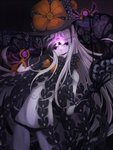 1girl abigail_williams_(fate/grand_order) bangs black_bow black_gloves black_headwear black_panties blue_eyes bow commentary_request fate/grand_order fate_(series) flower gloves hat hat_flower highres keyhole long_hair looking_at_viewer miiiiiiimu multiple_bows multiple_hat_bows navel orange_bow panties parted_bangs polka_dot polka_dot_bow red_eyes skull solo underwear very_long_hair white_hair witch_hat