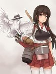 1girl akagi_(kantai_collection) apron arrow bird bow_(weapon) brown_eyes brown_gloves brown_hair cowboy_shot flight_deck gloves hakama_skirt hat japanese_clothes k_jie kantai_collection long_hair muneate owl partly_fingerless_gloves quiver red_skirt simple_background single_glove skirt smile solo standing straight_hair tasuki thighhighs weapon white_background white_legwear yugake