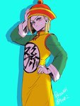 1girl android_18 blonde_hair blush dragon_ball dragon_ball_z dress hat lowres solo son_gohan yellow_dress