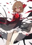 1girl ahoge ascot bangs black_skirt blonde_hair blush commentary_request feet_out_of_frame hair_between_eyes hair_ribbon highres long_sleeves looking_at_viewer petals petticoat red_eyes red_neckwear red_ribbon red_vest ribbon rose_petals rumia sh_(562835932) shirt short_hair simple_background skirt smile solo thighs touhou vest white_background white_shirt