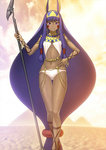 1girl absurdly_long_hair animal_ears breasts dark_skin earrings fate/grand_order fate_(series) hair_between_eyes hand_on_hip headband holding holding_staff jackal_ears jewelry long_hair looking_at_viewer low-tied_long_hair midriff navel nitocris_(fate/grand_order) official_art panties purple_eyes purple_hair shima_udon sleeveless small_breasts smile solo staff standing stomach underwear very_long_hair white_panties