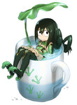 1girl :> asui_tsuyu bangs black_eyes black_hair bodysuit boku_no_hero_academia closed_mouth cup dripping eyebrows eyebrows_visible_through_hair footprints full_body gloves green_bodysuit hair_between_eyes hair_rings hands_on_thighs highres in_container in_cup leaf_umbrella long_hair long_sleeves looking_at_viewer low-tied_long_hair minigirl mug murakami_hisashi oversized_object partially_submerged paw_gloves paw_shoes paws shoes simple_background sitting solo unitard water_drop wet wet_hair white_background