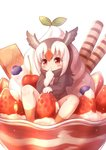 1girl atlantic_puffin_(kemono_friends) bird_wings black_hair blueberry blush cinnamon_stick commentary_request eyebrows_visible_through_hair finger_in_mouth food fruit giant_food gloves head_wings ice_cream in_food jacket kemono_friends matsuu_(akiomoi) multicolored_hair pleated_skirt red_hair scarf short_hair sitting skirt socks solo strawberry sundae wafer_stick white_hair wings