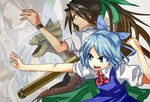 (9) 2girls arm_cannon blue_dress blue_eyes blue_hair bow brown_hair cirno crossover dress fairy green_bow green_eyes hair_bow hair_ribbon long_hair monster_hunter multiple_girls ponytail pun reiuji_utsuho ribbon short_hair skirt takorice touhou weapon yian_kut-ku zoom_layer