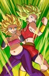 2girls absurdres aqua_eyes ass-to-ass aura axel_rosered back back-to-back back_view baggy_pants bandeau bare_arms bare_shoulders belly belt biceps big_hair bike_shorts black_shorts blonde_hair bracer breasts brown_belt caulifla cleavage clenched_hands collarbone cowboy_shot crop_top dragon_ball dragon_ball_super ear_piercing earrings explosion eyebrows eyelashes fat fat_folds fighting_stance floating_hair height_difference highres impossible_clothes jewelry kale_(dragon_ball) legs_apart lips looking_at_another love_handles medium_breasts midriff miniskirt muffin_top multiple_girls muscle muscular_female navel open_mouth pants piercing pink_bandeau plump power-up purple_pants red_shirt red_skirt saiyan shin_guards shiny shiny_clothes shiny_skin shirt shorts shorts_under_skirt simple_background size_difference skindentation skirt smile spiked_hair standing stomach strapless student super_saiyan super_saiyan_2 teacher teacher_and_student teeth thick_thighs thighs thin_waist toned tongue tubetop vambraces