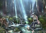 1girl ainu ainu_clothes antlers bandages bandana bare_shoulders barefoot blue_eyes breasts commentary_request deer dress drinking folded_ponytail forest hair_between_eyes headband kamoi_(kantai_collection) kantai_collection large_breasts nature pelvic_curtain revealing_clothes rock scenery side_slit sideboob sidelocks signature silver_hair sitting sleeveless sleeveless_dress soaking_feet splashing sunlight thighhighs thighs tree water white_dress white_hair wrist_guards yamatoshi