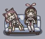 ! +++ 2girls a.i._channel ahoge anger_vein animal_ears animated annoyed bike_shorts blush_stickers brown_hair cat_ears chibi commentary_request controller couch detached_sleeves ear_twitch game_controller hair_bobbles hair_ornament head_rest hinata_channel kizuna_ai leaning_to_the_side long_hair low_twintails lowres mp4 multiple_girls nekomiya_hinata open_mouth orange_legwear pink_hair playing_games ribbon shirt shorts shouting sitting smile thighhighs twintails vest white_legwear white_shirt white_vest