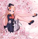 1girl abigail_williams_(fate/grand_order) bangs black_bow black_dress black_footwear black_headwear blonde_hair blue_eyes bow cherry_blossoms closed_mouth commentary_request dress fate/grand_order fate_(series) forehead gantan hair_bow legs long_hair orange_bow parted_bangs polka_dot polka_dot_bow sleeves_past_fingers sleeves_past_wrists stuffed_animal stuffed_toy teddy_bear white_bloomers