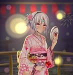 1girl absurdres altera_(fate) alternate_costume bangs dark_skin eyebrows_visible_through_hair fate/grand_order fate_(series) feet_out_of_frame firework_background food headdress highres hokori_sakuni holding holding_food holding_mirror japanese_clothes kimono looking_at_viewer night pink_kimono print_kimono red_eyes short_hair solo tagme tan white_hair