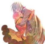 1boy 1girl amy26 aquarion_(series) aquarion_evol blonde_hair closed_eyes couple hetero hug jin_musou open_mouth pink_hair short_hair simple_background smile tears white_background yunoha_thrul