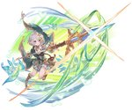 1girl antenna_hair bare_shoulders detached_sleeves flower granblue_fantasy hair_flower hair_ornament kokkoro_(princess_connect!) official_art polearm princess_connect!_re:dive puffy_sleeves red_eyes short_hair silver_hair spear weapon