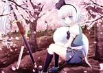 1girl blue_eyes blush cherry_blossoms flower ghost hair_ribbon katana konpaku_youmu konpaku_youmu_(ghost) petals planted_sword planted_weapon ribbon shirt short_hair silver_hair sitting skirt skirt_set smile solo sword touhou tree v_arms vest weapon windfeathers