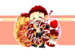 1boy =_= abs bare_chest belt_buckle boots brown_hair buckle cake charlotte_katakuri chest chibi closed_eyes commentary_request cowboy_boots daifuku_(tales-vr2314-i48) doughnut eating food fruit full_body gloves happy heart highres male_focus one_piece open_clothes open_vest pants scarf sharp_teeth short_hair solo spikes spoilers spurs stitches strawberry teeth vest