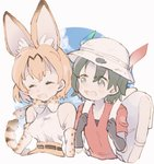 2girls animal_ear_fluff animal_ears backpack bag bare_shoulders belt black_hair blonde_hair blush bucket_hat closed_eyes commentary elbow_gloves eyebrows_visible_through_hair feathers gloves hat high-waist_skirt highres holding_strap kaban_(kemono_friends) kemono_friends laughing looking_at_another multicolored_hair multiple_girls serval_(kemono_friends) serval_ears serval_print serval_tail shirt short_hair short_sleeves skirt sleeveless t-shirt tail waterliryppp