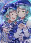2girls :d ^_^ alternate_hairstyle aqua_hair arm_around_waist ascot bang_dream! beret blue_bow blue_headwear blue_neckwear blush bow braid closed_eyes constellation_hair_ornament constellation_print double-breasted earrings frilled_shirt_collar frills green_eyes hair_bow hair_over_shoulder hand_on_another's_waist hat hat_bow highres hikawa_hina hikawa_sayo incest jewelry long_hair long_sleeves looking_at_another mia_(fai1510) multiple_girls neck_ribbon open_mouth ribbon short_hair shoulder_cutout siblings side_braids single_braid sisters smile striped striped_bow striped_neckwear twincest twins upper_body yuri