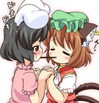 2girls animal_ears black_hair blush brown_hair bunny_ears cat_ears cat_tail chen closed_eyes dress ear_piercing holding_hands inaba_tewi interlocked_fingers jewelry mob_cap mouth_hold multiple_girls multiple_tails piercing pila-pela pink_dress pocky pocky_kiss puffy_short_sleeves puffy_sleeves red_dress red_eyes shared_food short_sleeves single_earring tail touhou