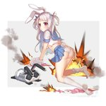 1girl :x all_fours animal_ears ass blue_ribbon blue_sailor_collar blue_skirt blush breasts bunny_ears bunny_girl bunny_tail carrot changchun_(warship_girls_r) closed_mouth copyright_name crop_top explosion gloves grey_background grey_hair hair_ribbon hasu_(velicia) heart highres kneehighs long_hair looking_at_viewer looking_back medium_breasts midriff missile no_shoes official_art panties paw_gloves paws pink_ribbon pleated_skirt red_eyes ribbon robot sailor_collar school_uniform serafuku shirt skirt smoke soles solo tail two-tone_background two_side_up underboob underwear very_long_hair warship_girls_r white_background white_gloves white_legwear white_panties white_shirt