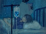 1boy bed bed_frame bed_sheet black_hair black_skin blue blue_eyes clipboard commentary_request inside intravenous_drip labcoat looking_at_viewer lying monaka_(siromona) on_back original pillow short_hair solo_focus star under_covers