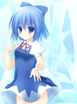 1girl bad_id bad_pixiv_id blue_eyes blue_hair blue_skirt blush cirno hand_on_hip ice_block pointing pointing_at_self short_hair skirt smile solo touhou upskirt utahiro_(shima) wings