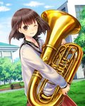 1girl ;d absurdres blue_sky brown_eyes brown_hair cloud collarbone day euphonium floating_hair green_ribbon grey_sweater hair_ribbon highres holding holding_instrument instrument kishida_mel looking_at_viewer one_eye_closed open_mouth outdoors red_skirt ribbon school_fanfare short_hair skirt sky smile solo standing
