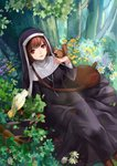 1girl animal animal_on_hand bag bangs bird black_dress brown_hair cherry cross cross_necklace dress eyebrows_visible_through_hair flower food fruit highres jewelry long_dress looking_at_viewer marchen monogo necklace nun nun_(marchen) red_eyes short_hair shoulder_bag sitting solo sound_horizon squirrel tree white_flowers yellow_flower