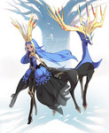 1000marie 1girl blonde_hair blue_hair crown long_hair multicolored_hair personification pokemon pokemon_(game) pokemon_xy two-tone_hair xerneas