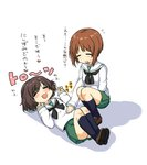 2girls :3 :d =_= akiyama_yukari bangs black_legwear black_neckwear blouse blush brown_footwear brown_hair clenched_hands closed_eyes commentary eyebrows_visible_through_hair flying_sweatdrops girls_und_panzer green_skirt heart kneehighs legs_up loafers long_sleeves lying messy_hair miniskirt motion_lines multiple_girls neckerchief nishizumi_miho on_back ooarai_school_uniform open_mouth pleated_skirt school_uniform serafuku shadow shoes short_hair simple_background skirt smile squatting sweatdrop translated uro w_arms white_background white_blouse