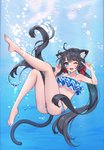 1girl ;d absurdres ahoge air_bubble animal_ear_fluff animal_ears ass bangs bare_arms bare_legs bare_shoulders barefoot bikini black_hair blue_bikini blue_eyes bow breasts bubble cat_ears cat_girl cat_tail commentary commission day english_commentary eyebrows_visible_through_hair fingernails full_body gin2 hair_bow hands_up highres index_finger_raised knee_up leg_up long_hair medium_breasts one_eye_closed open_mouth original outdoors red_bow round_teeth smile soles solo striped striped_bikini_bottom swimsuit tail teeth twintails underboob underwater upper_teeth very_long_hair water