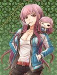 1girl antenna_hair bangs belt belt_buckle black_pants blue_jacket breasts brown_eyes buckle character_doll character_request cleavage collarbone cowboy_shot danganronpa doll_on_shoulder floating_hair green_background hands_in_pockets happy_birthday hood hooded_jacket jacket jewelry long_hair long_sleeves looking_at_viewer medium_breasts mole mole_under_eye mouth_hold necklace open_clothes open_jacket pants pink_hair red_belt shirt smile smoking solo standing straight_hair swept_bangs very_long_hair white_shirt yumaru_(marumarumaru)