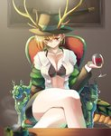1girl alcohol bangs black_bra black_skirt blush bra breasts brown_headwear cleavage closed_mouth collarbone commentary_request crossed_legs cup dragon_girl dragon_horns dragon_tail dress_shirt drinking_glass eyebrows_visible_through_hair fedora glass hair_between_eyes hat holding holding_cup horns katana kicchou_yachie long_hair long_sleeves looking_at_viewer medium_hair miniskirt open_clothes open_shirt red_eyes scabbard sheath sheathed shirt short_hair skirt smile solo sunyup sword tail touhou unbuttoned unbuttoned_shirt underwear weapon white_shirt wine wine_glass